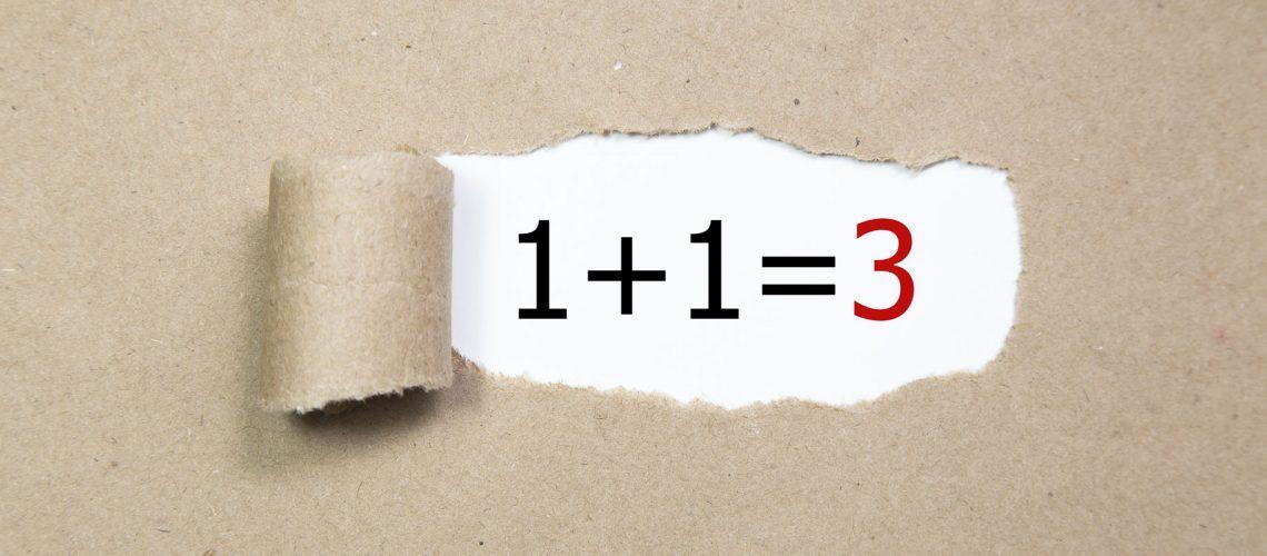 1+1=3,Written,Under,Torn,Brown,Paper.business,,Technology,,Internet,Concept.