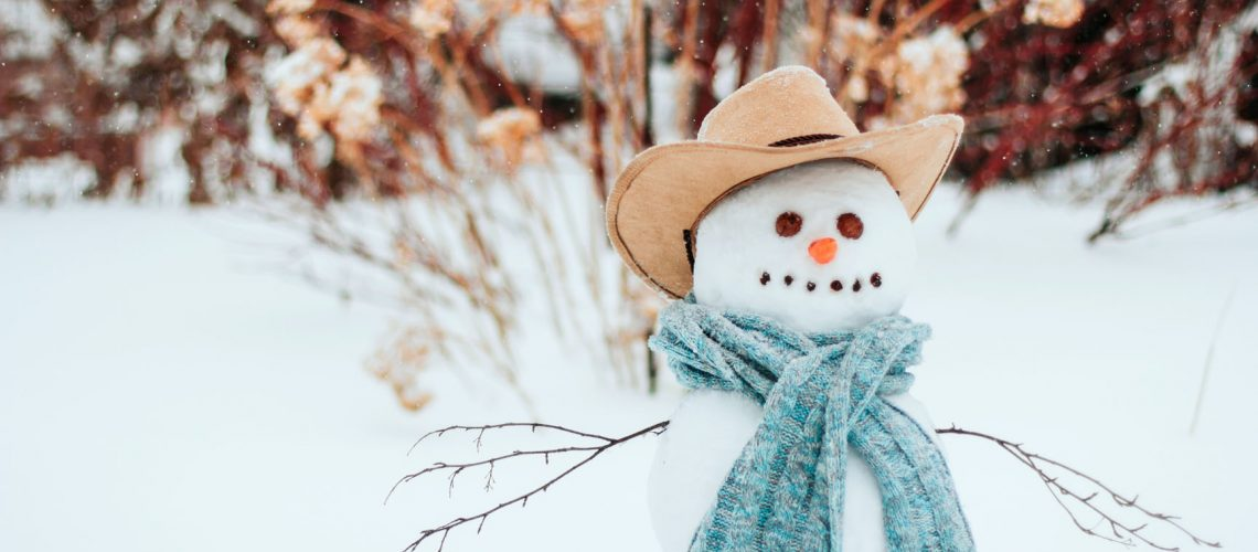 Snowman,In,A,Blue,Knitted,Scarf,And,A,Brown,Cowboy