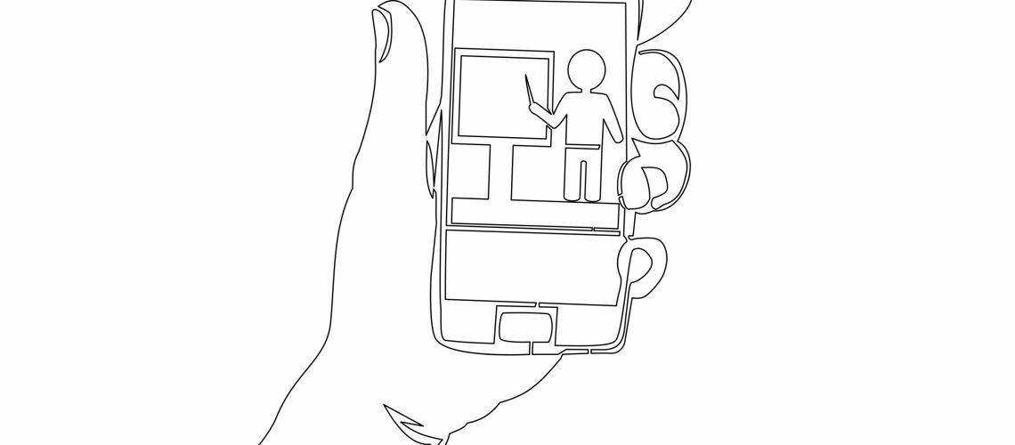 Continuous,One,Single,Line,Drawing,Online,Education,Icon,Illustration,Concept