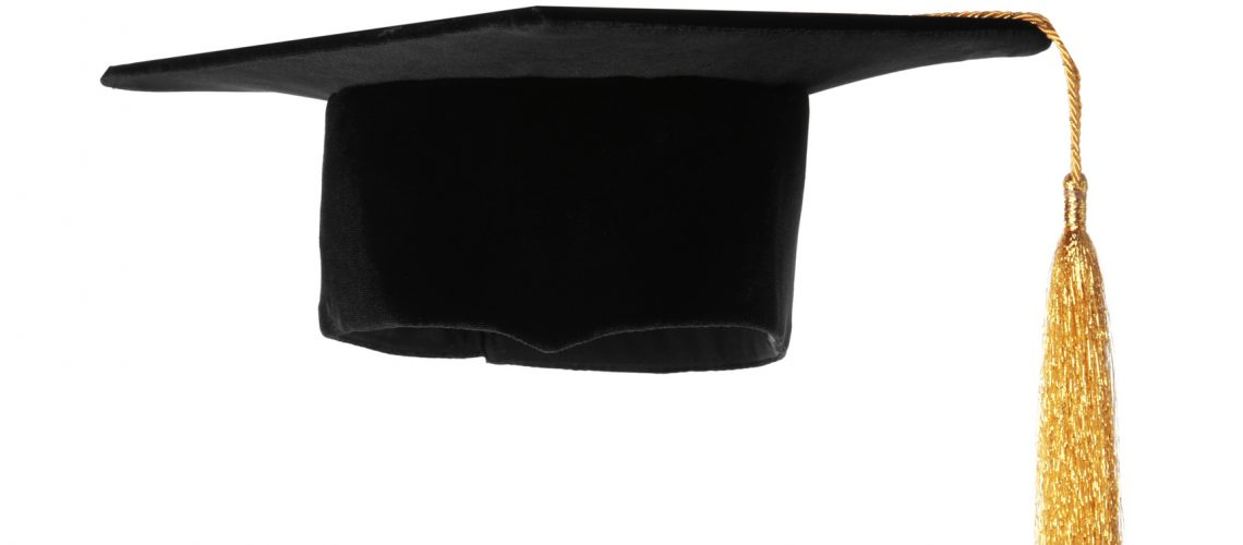 Graduation,Hat,With,Gold,Tassel,Isolated,On,White