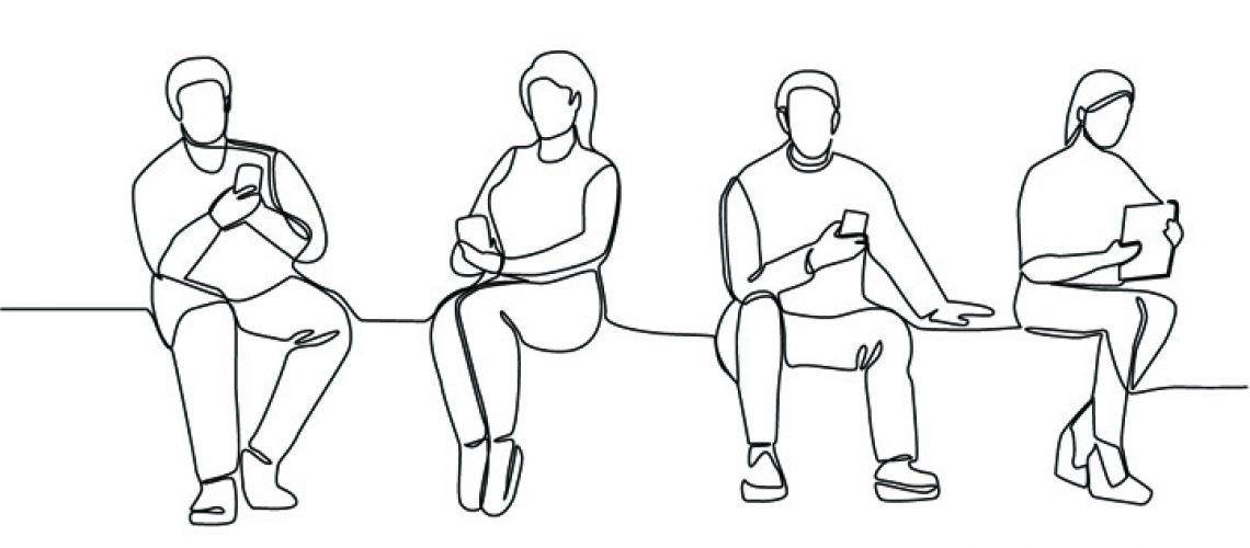 People with Gadgets Continuous Line Art. Man and Woman Using Sma
