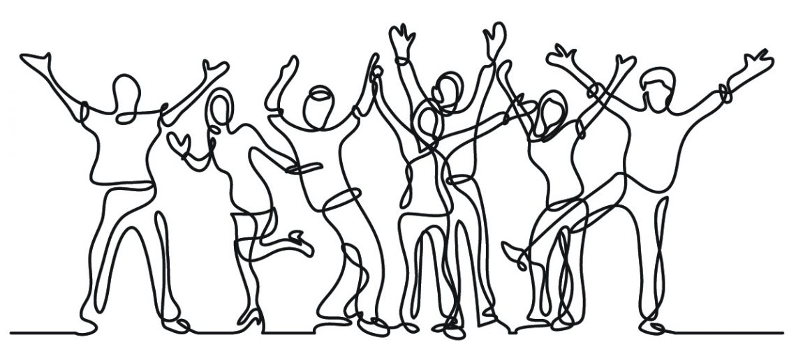 continuous line drawing of happy cheerful crowd of people