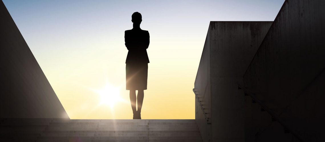 Business,,Success,,Achievement,And,People,Concept,-,Silhouette,Of,Woman