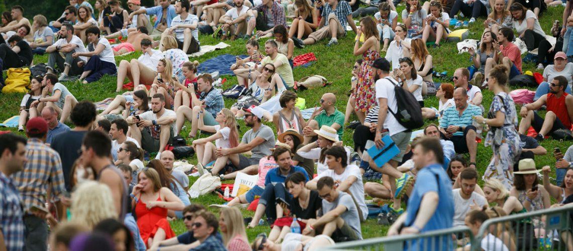 Moscow-9,July,2017:,Music,Fans,Enjoying,Big,Outdoor,Entertainment,Event.summer,Open