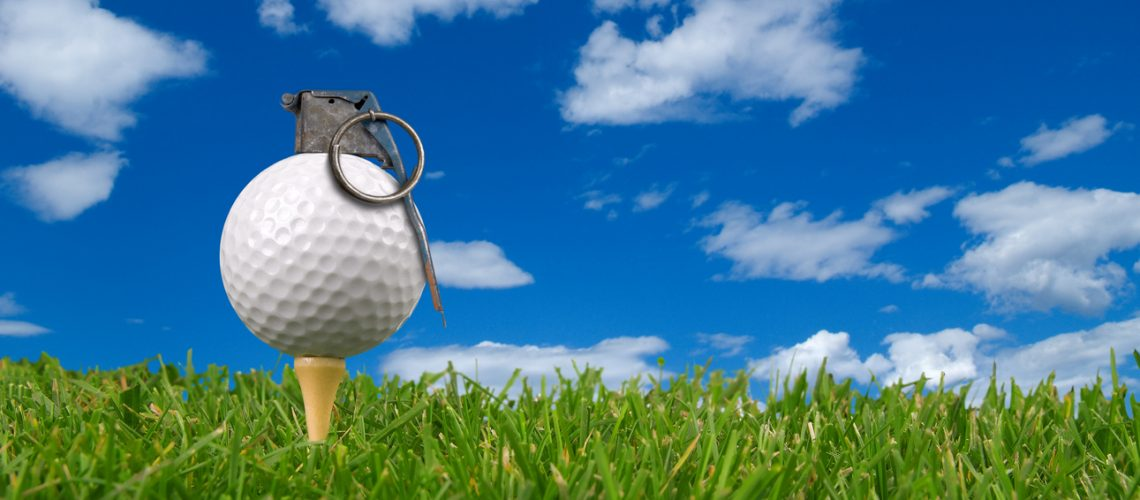 Golf,Ball,Grenade,From,The,Ground,Level,With,Grass,And