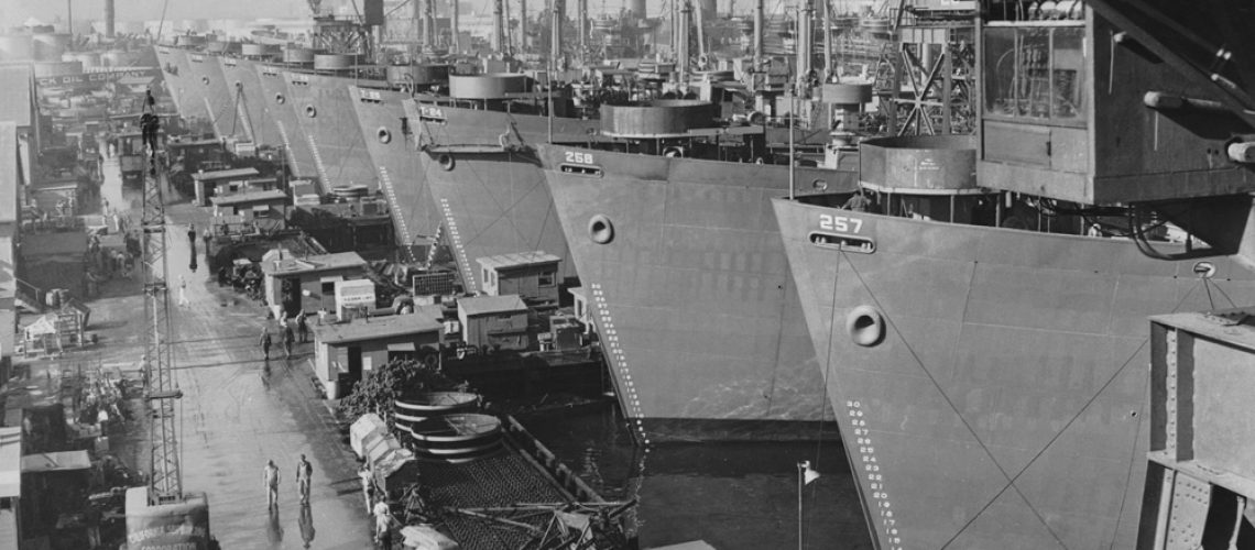 Nine,Huge,Liberty,Cargo,Ships,At,Docks,Of,California,Shipbuilding
