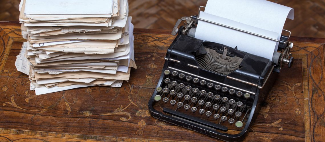 Old,Typewriter,On,The,Incrustated,Table
