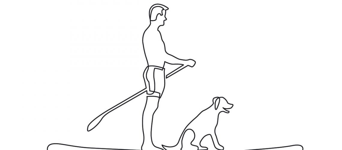 continuous line drawing of man and dog paddling on board
