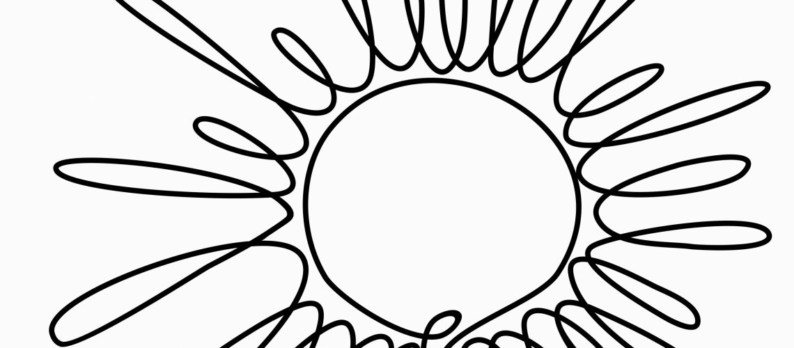 Continuous,One,Line,Drawing,Of,Sun,With,Ray.illustration,Of,Sun